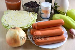 Подготовьте необходимые ингредиенты для приготовления блюда: сухую фасоль, белокочанную капусту, сосиски, лук, чеснок, сладкий перец, растительное масло, соль и перец.