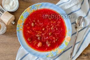 Постный борщ с красной фасолью