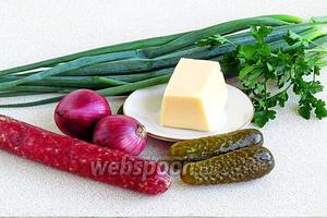 Для приготовления салата нужно взять основные ингредиенты: копчёную колбасу, твёрдый сыр, фиолетовый лук, маринованные огурцы, зелёный лук и зелень петрушки.
