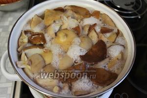 Грибы отварить 10 минут, сменить воду, грибы промыть и ещё проварить 10 минут в свежей воде.