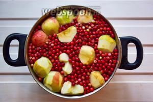 В практически закипевшую воду высыпьте бруснику, сахар и положите яблоки. Доведите до кипения и убавьте огонь.