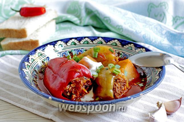 Фото Фаршированный перец с мясом и капустой