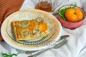 Пицца с белым баклажаном и соусом Альфредо