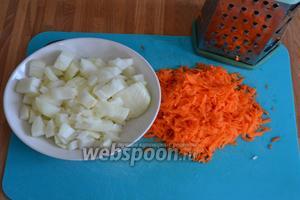 Очистить овощи; лук нарезать не очень мелко, морковь натереть на крупной тёрке.