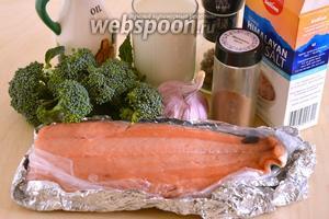 Подготовьте необходимые ингредиенты: филе гольца, сливки, брокколи, оливковое масло, соль, перец, чеснок и мускатный орех.