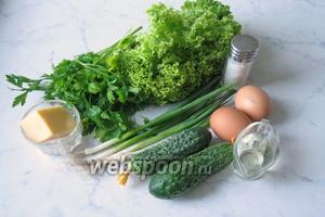 Для приготовления салата с яйцом пашот потребуется: яйцо, свежий огурец, зелёный лук, салат листовой, свежая петрушка, любой твёрдый сыр, подсолнечное или оливковое масло, соль.
