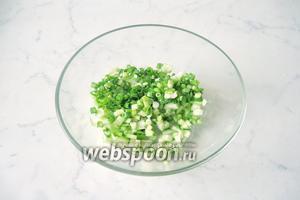 Зелёный лук помыть, мелко нарезать, добавить к нарезанному огурцу.
