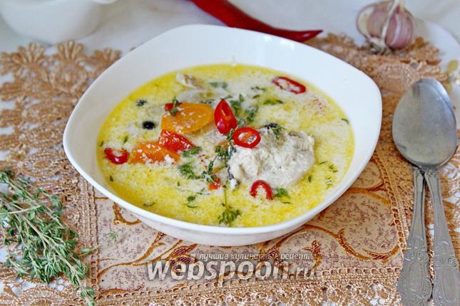 Фото Сливочный суп с курицей и овощами