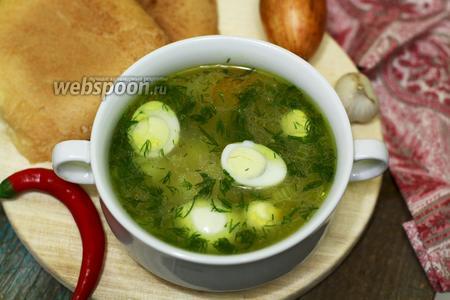 Суп рисовый с перепелиными яйцами