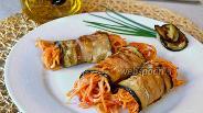 Фото рецепта Баклажанные рулетики со спагетти