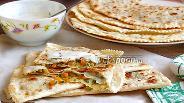 Фото рецепта Лепёшки с сыром Фета, тыквой и зеленью