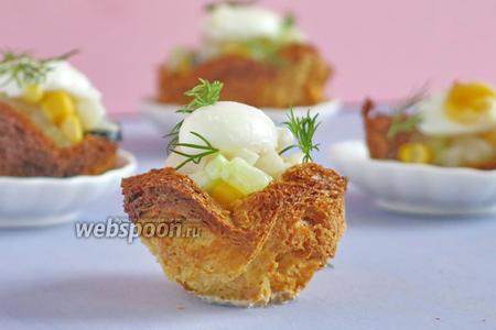 Тарталетки с яйцами пашот