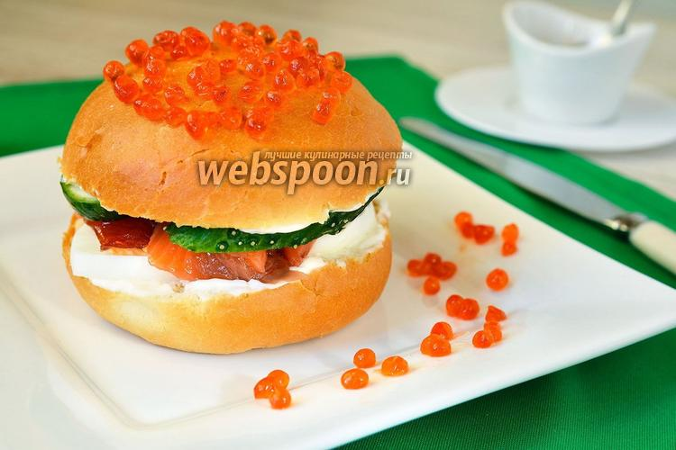 Фото Гамбургер с красной рыбой