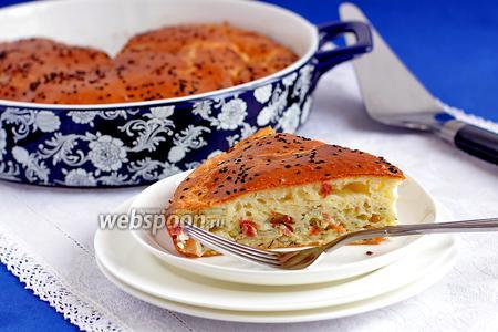 Быстрый пирог с капустой и копчёной курицей