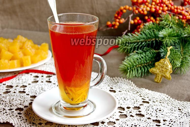 Фото Чай из клюквы с апельсином и гвоздикой