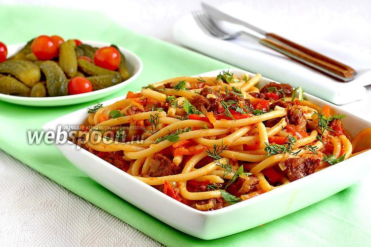 Фото Макароны с мясом и овощами