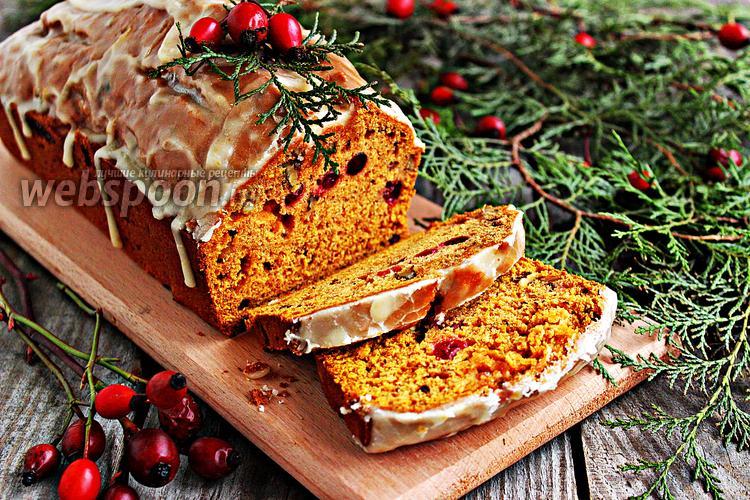 Фото Тыквенный кекс с клюквой и орехами