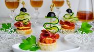 Фото рецепта Канапе с овощами и колбасой