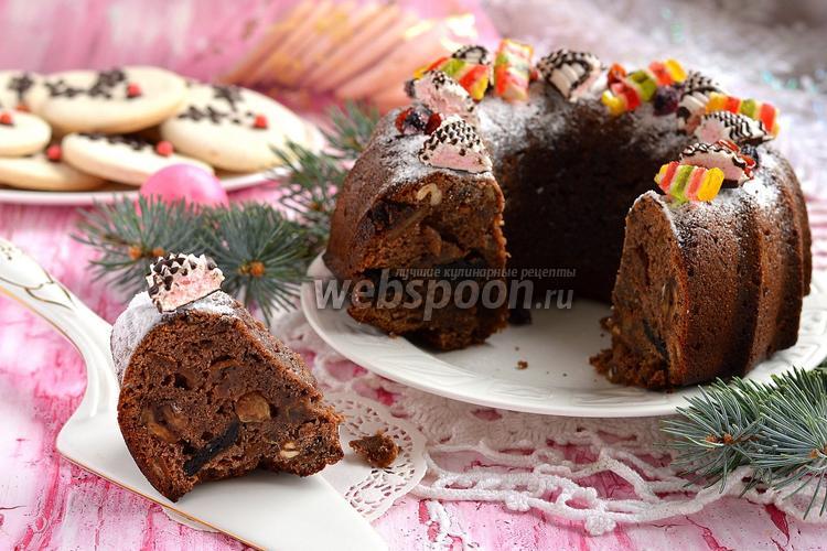 Фото Влажный рождественский фруктовый кекс