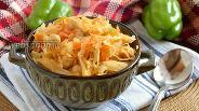 Фото рецепта Тушёная капуста с нутом и овощами