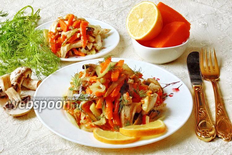 Фото Тёплый салат с курицей, тыквой и грибами