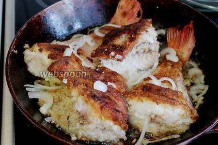 Когда лук и рыба поджарятся до румяной корочки, а мякоть приобретёт чисто-белый цвет — рыба готова. Подавать сразу, с острым соусом или зеленью и салатом.