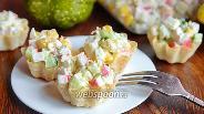 Фото рецепта Тарталетки начинённые кунжутом и крабовыми палочками