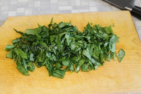Мелко нарезать шпинат с петрушкой.