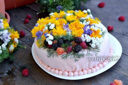 Бисквитный торт с ягодами и живыми цветами