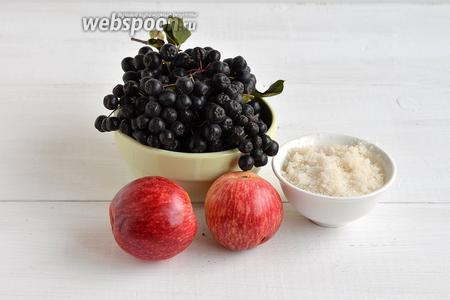 Для работы нам понадобится черноплодная рябина,  кисло-сладкие яблоки, сахар.