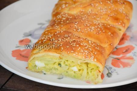Пирог с капустой из слоёного теста готов. Остудить и нарезать на порции. Приятного аппетита!:))