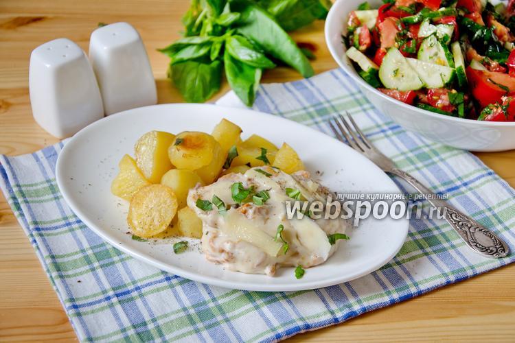 Фото Лисички жареные с картошкой под сырным соусом