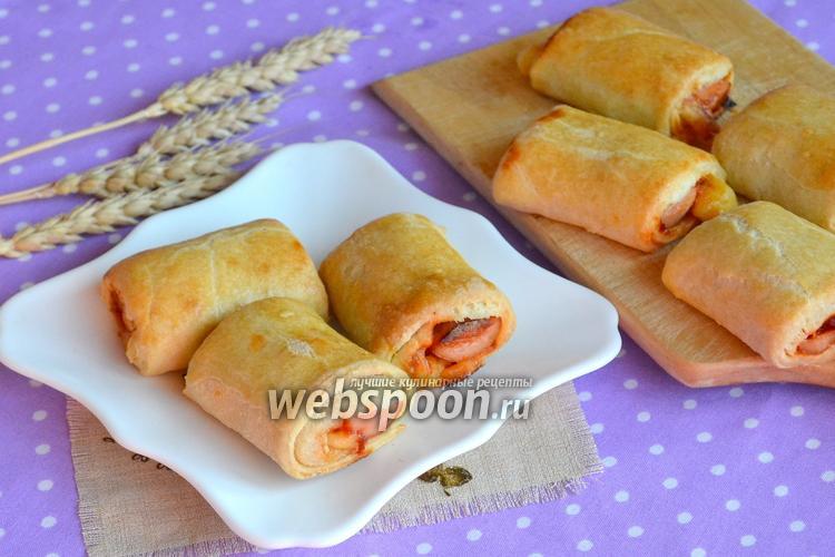 Фото Рулеты с сосисками и сыром