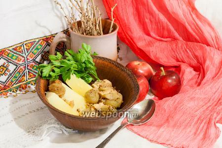 Куриная грудка с горчицей, яблоками и виноградом