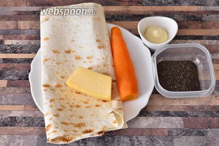 А также тонкий армянский лаваш, сыр, морковь, майонез и перец чёрный молотый. На 1 фотографию даже все ингредиенты не поместились.