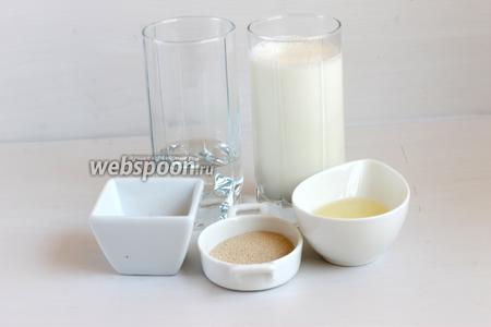 Такие продукты нам нужны для теста: мука, вода, молоко, соль, сахар, дрожжи, масло растительное.
