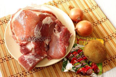 Для приготовления нам понадобятся свинина, лук репчатый, киви, приправа для шашлыка, масло растительное, вода и соль.