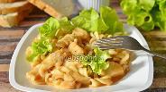 Фото рецепта Филе тилапии с макаронами в томатно-сырной подливке