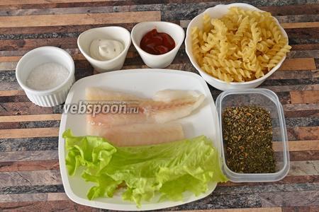 Для приготовления филе тилапии с макаронами в томатно-сырной подливке вам понадобится сырный соус Блю чиз, листья салата, томатная паста, макароны, мята и базилик сушёный, соль и тилапия.
