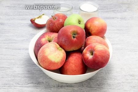 Необходимы яблоки, сахар и вода.