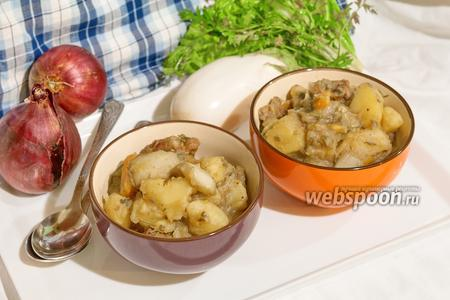 Картофель тушёный со свининой и белым баклажаном