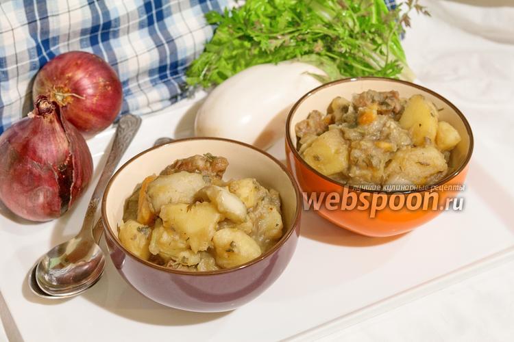 Фото Картофель тушёный со свининой и белым баклажаном