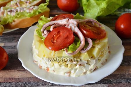 Салат с осьминогами и кальмарами