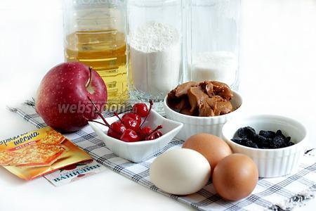 Для карамельной шарлотки возьмём яйца, варёное сгущённое молоко, изюм, сахар, муку, растительное масло, коктейльную вишню, шоколад, разрыхлитель, ванилин, яблоки.