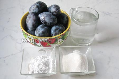 Для приготовления киселя из слив потребуются такие ингредиенты: слива, сахар, крахмал картофельный, вода.
