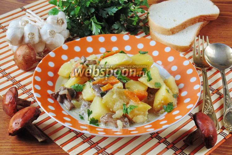 Фото Подосиновики с картошкой и луком-пореем в сметане