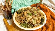 Фото рецепта Белые баклажаны с красным рисом, куриной грудкой и мангольдом