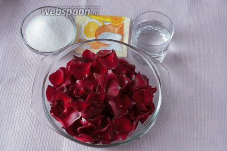 Для приготовления напитка нам потребуются лепестки чайной розы, вода, лимонная кислота, сахар.