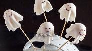 Фото рецепта Кейк-попсы на Хэллоуин «Привидения»