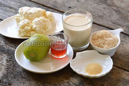 Для работы нам понадобится творог, сливки, желатин, сахар, киви, малиновый сироп.